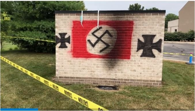 Screen cap of raw video of the Carmel synagogue vandalism